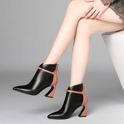2018秋冬款真皮粗跟短靴女士皮靴子侧拉链尖头高跟及踝靴牛皮女靴