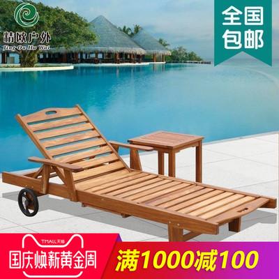 精欧户外 防腐柚木游泳池沙滩折叠实木躺床 庭院阳台午睡床沙发椅