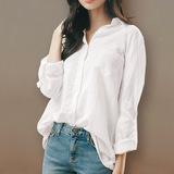 棉麻白色衬衫女2019款春装宽松韩版很仙的衬衣上衣洋气设计感小众