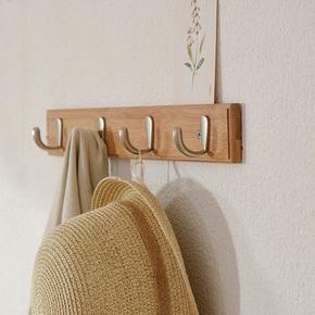 创意简约实木壁挂挂衣钩卧室门后挂衣架客厅墙上楠竹衣帽挂钩排钩
