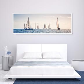 现代简约床头装饰画单幅有框画长幅卧室挂画北欧风格风景艺术壁画
