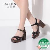 Daphne/达芙妮休闲时尚粗高跟仿木纹凉鞋工作通勤女鞋1016303610