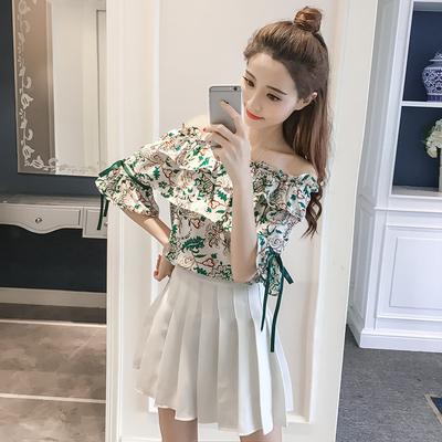 夏装新款韩版甜美一字领荷叶边喇叭袖碎花系带短袖女士雪纺衫上衣