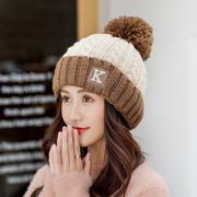 2018新款帽子女冬韩版百搭保暖针织帽加厚甜美可爱护耳加绒毛线帽