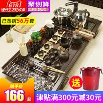 美阁紫砂功夫茶具套装家用陶瓷茶壶茶杯电热磁炉茶台茶道实木茶盘
