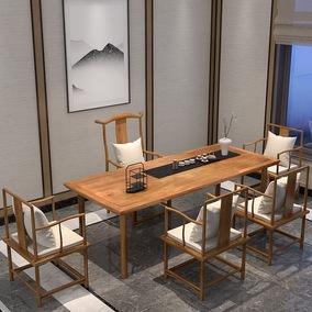 新中式茶桌椅组合茶室家具禅意功夫泡茶桌简约后现代实木茶道茶台