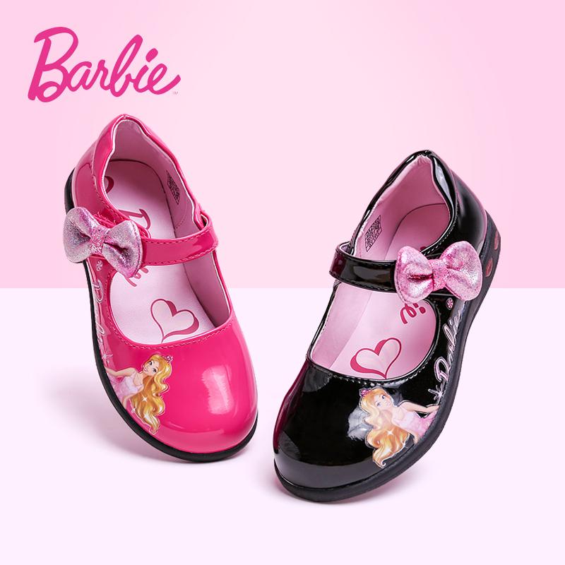 芭比童鞋女童皮鞋春秋2019新款豆豆鞋儿童单鞋秋鞋小公主发光鞋子