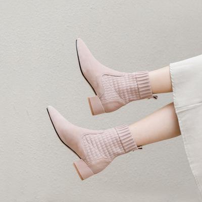 2018秋冬新款瘦瘦靴短靴女粗跟中跟单靴女尖头针织弹力袜靴女裸色