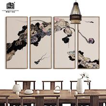 新中式客厅玄关书房会客室办公室抽象意境水墨祥云竖条组合装饰画