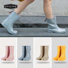 时尚 胶鞋 女成人防滑雨靴水鞋 UNICARE春秋欧美中筒雨鞋 女防水雨鞋