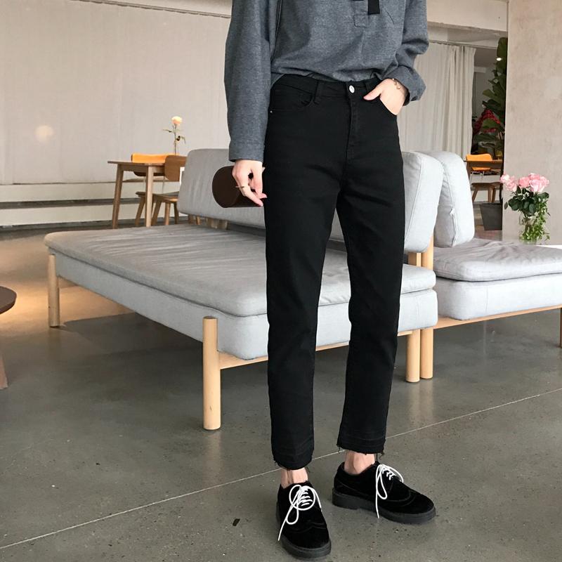 【阿一】春款修身小直筒九分牛仔裤女弹力百搭显腿直休闲裤小黑裤