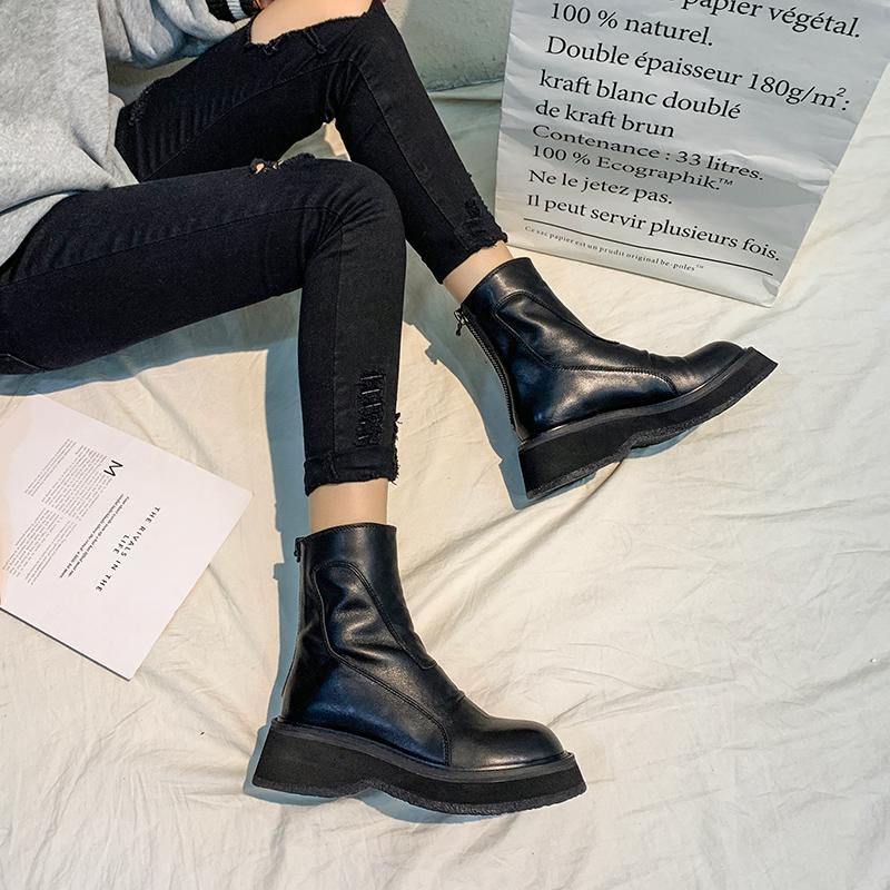 马丁靴女2019秋冬新款拉链松糕厚底短靴英伦风网红瘦瘦靴百搭靴子