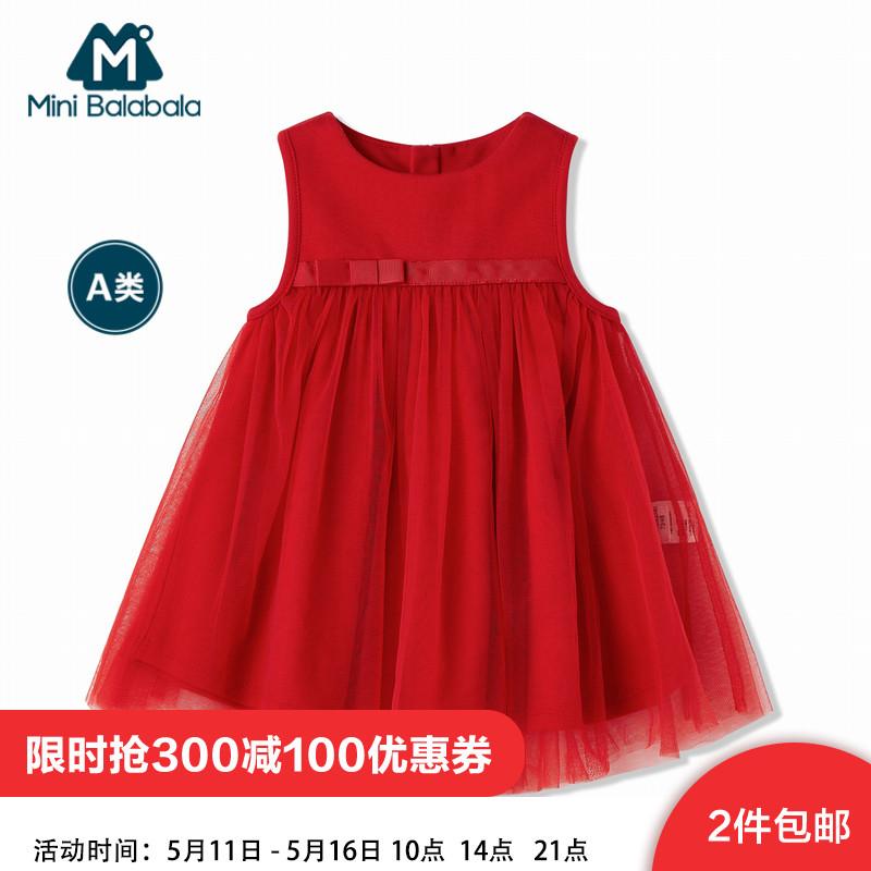 儿童新年红裙子