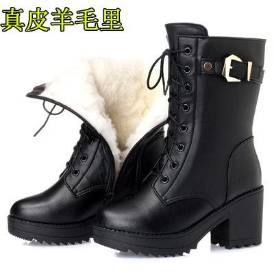 2018冬新女棉鞋真皮羊毛里女棉靴大码棉皮靴军靴中筒靴子棉皮鞋41