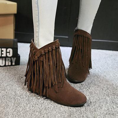 2018新款冬季女鞋磨砂平底短靴女内增高流苏靴短筒靴子女大码棉鞋