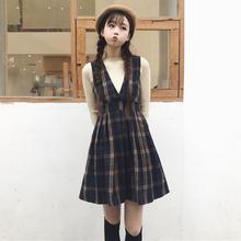 秋冬季女装 韩版 2018新款 学生少女英伦格子复古甜美呢子裙子连衣裙
