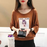 针织衫女套头蝙蝠衫2018春夏新款韩版宽松大码中袖镂空薄外套罩衫