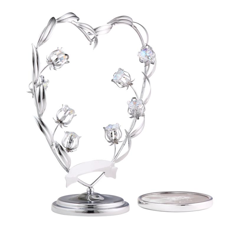 CRYSTOCRAFT花簇心形水晶相框摆台生日情人节礼品 婚庆结婚礼物