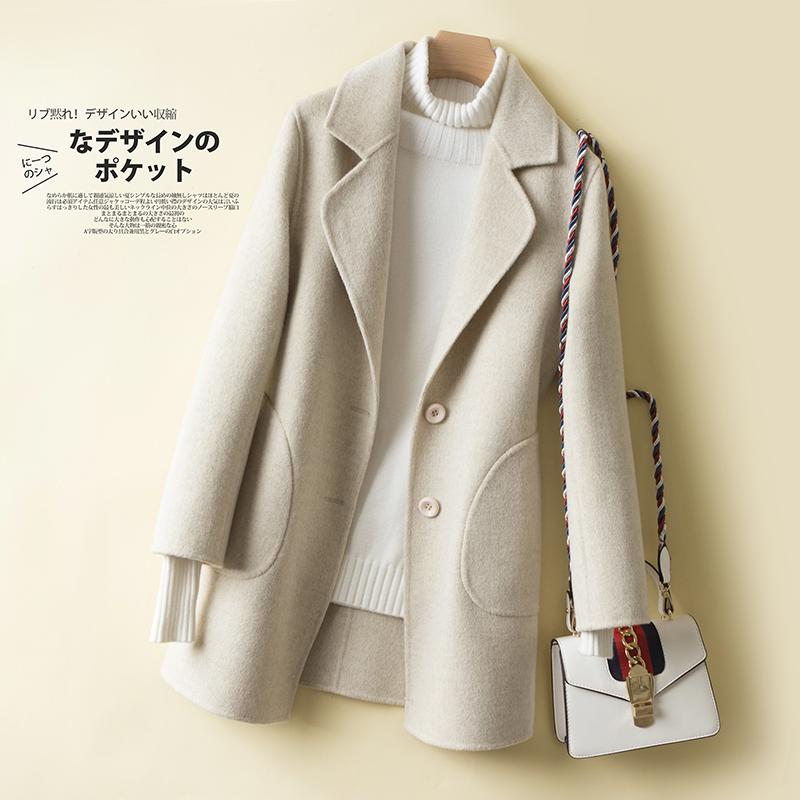 韩版修身羊毛呢外套女短款