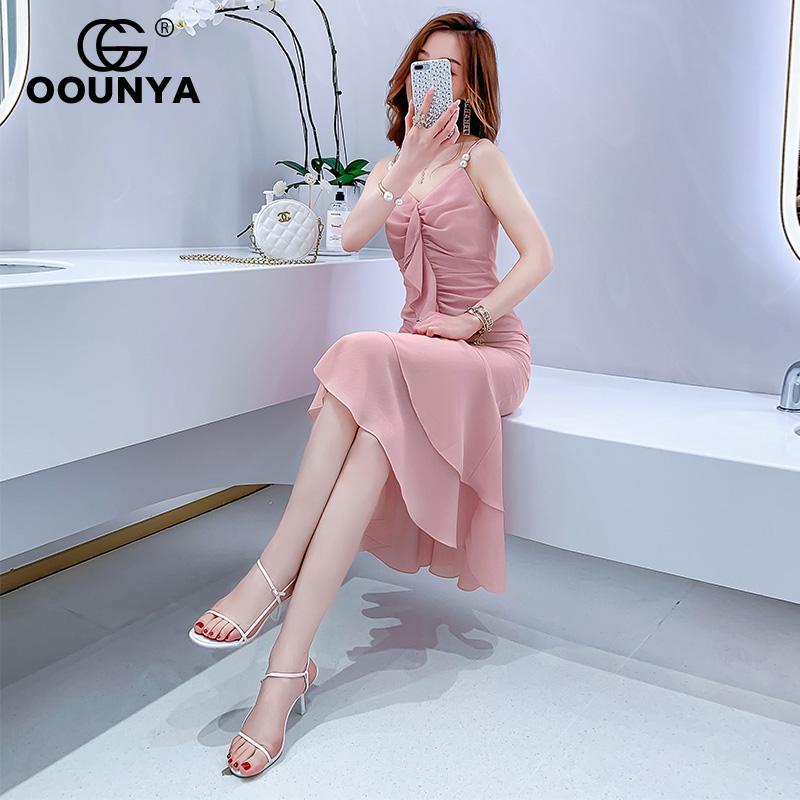 格润雅2019夏季新款性感吊带雪纺连衣裙韩版修身荷叶边鱼尾裙包臀