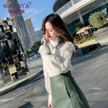 Ge Runya high-neck lace inside bottoming shirt 2019 spring fashion new pleated chiffon shirt very fairy top