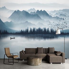 3D立体新中式水墨山水倒影远山飞鸟卧室沙发背景墙布卧室墙壁纸