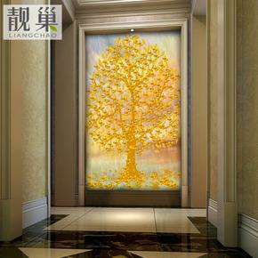 玄关背景墙纸壁纸无纺布客厅大型壁画发财摇钱树 简约时尚欧式
