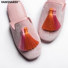 梵萨帝春秋时尚 室内地板软底家用拖鞋 手工仿皮流苏丝绒家居皮拖鞋