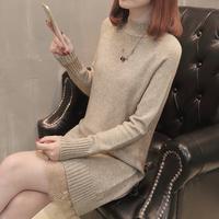 2017秋冬季韩版新款女装 中长款韩版针织衫套头修身毛衣连衣裙女