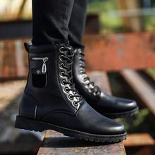 冬季马丁靴男皮靴新款潮流军靴男士高帮鞋雪地短靴加绒保暖男靴子