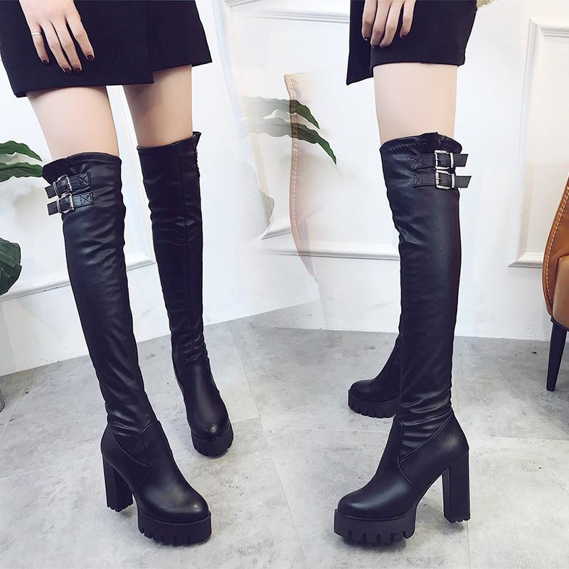 专柜洛百丽秋冬新款女靴子粗跟超高跟过膝长靴瘦腿弹力靴皮带扣防