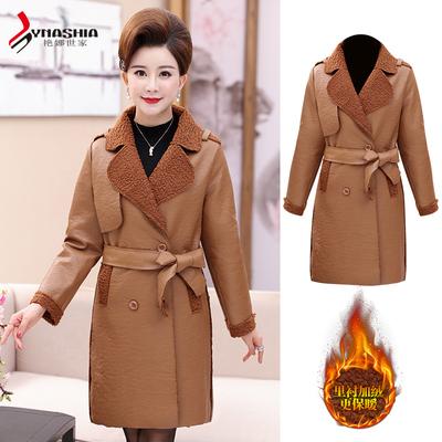 新款大码中长款皮衣中年女装外套妈妈装皮夹克风衣加绒秋冬装加厚