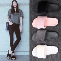 2018夏季新款毛毛拖鞋女士韩版时尚外穿一字拖毛绒平底沙滩凉拖女
