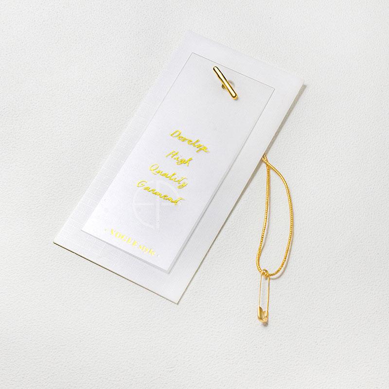 简洁大气透明磨砂pvc特种纸女装吊牌 商标logo烫金服装店线扣别针