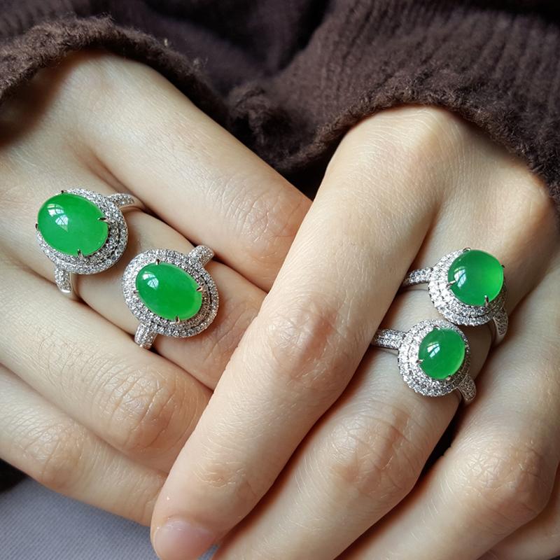 翡翠钻石镶嵌戒指