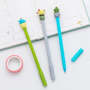 韩版文具多肉控植物造型中性笔学生用0.5mm全针管创意仙人掌水笔