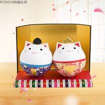 日本进口ishikawa日式创意美浓和纸纸质玩偶桌面小摆件球球夫妇