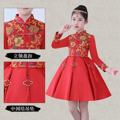 卡咪蛙女童旗袍儿童唐装新年中国风公主裙秋冬加绒加厚长袖晚礼服