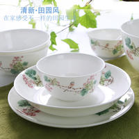 Tangshan bone china tableware red rose bone china Chinese style garden dishes dishes bowls ceramic bowl bone china bowl