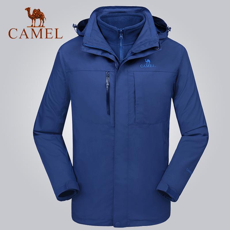 2017秋冬新品骆驼户外男女款三合一冲锋衣两件套加厚加绒防水外套