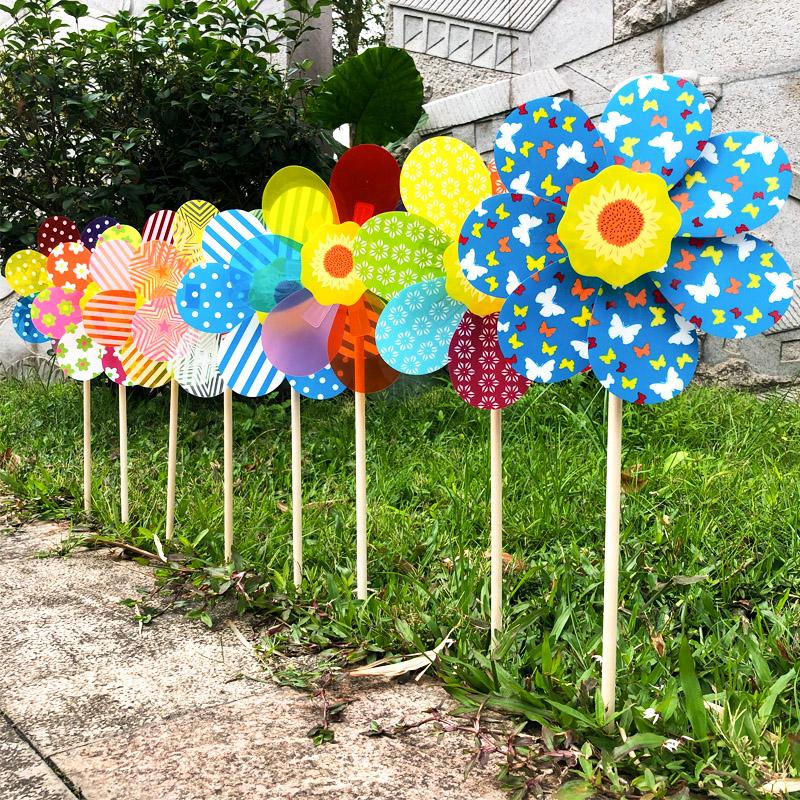 希宝 七彩花木杆风车节户外儿童玩具幼儿园楼盘装饰拍照道具