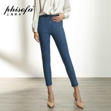 上海厚木ELC89153秋季新品修身显瘦磨白小脚高弹牛仔外穿打底裤女