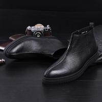 秋冬季男士高帮皮鞋英伦尖头软牛皮厚底潮流短靴 真皮韩版马丁靴