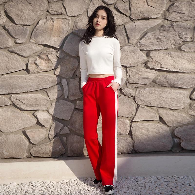 韩版红长裤