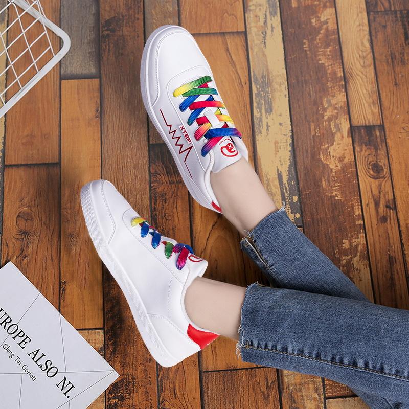 特步女鞋夏季2019新款正品女板鞋小白鞋休闲鞋子低帮白色运动鞋女