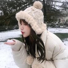 毛线帽子女秋冬季雷锋帽保暖可爱护耳兔毛球潮针织帽两挂球 韩版图片