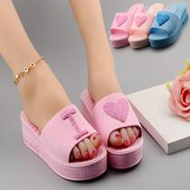 夏季新款韩版时尚心形松糕跟坡跟凉拖鞋女厚底高跟拖鞋女鱼嘴鞋