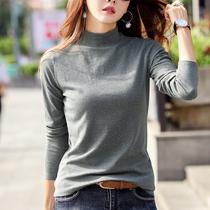 半高领打底衫女长袖2018秋冬新款修身纯色加绒纯棉t恤保暖秋衣女