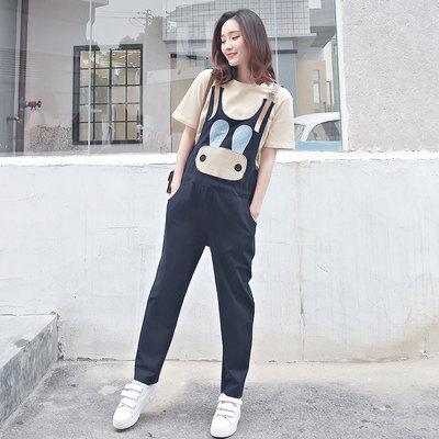 孕妇背带裤夏薄款潮妈怀孕期孕妇裤春秋2018新款时尚长裤3-9个月