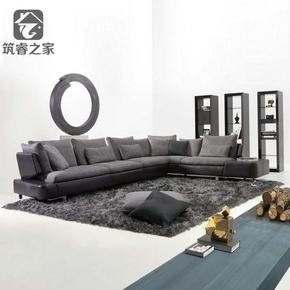 现代简约沙发北欧布艺沙发 转角客厅羽绒沙发可拆洗大户型别墅